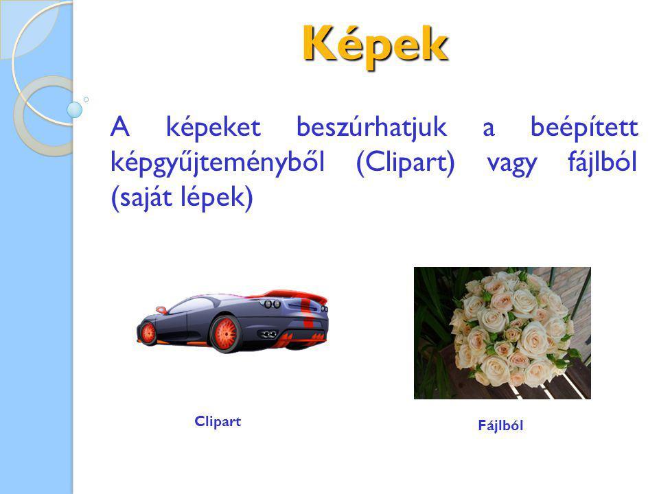 Képek A képeket beszúrhatjuk a beépített képgyűjteményből (Clipart) vagy fájlból (saját lépek) Clipart.