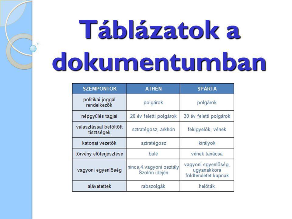 Táblázatok a dokumentumban