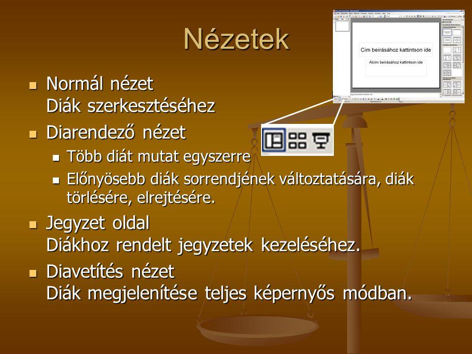 Nézetek Normál nézet Diák szerkesztéséhez Diarendező nézet