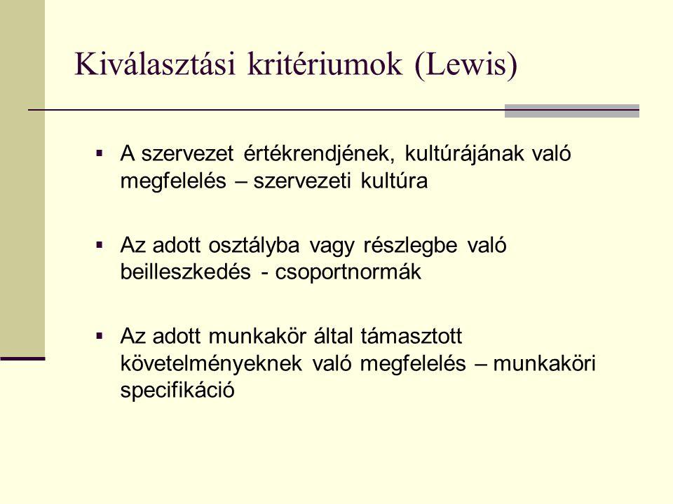 Kiválasztási kritériumok (Lewis)