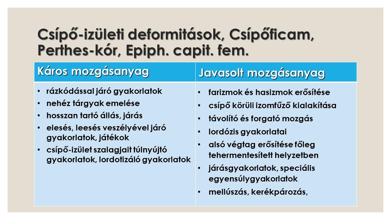 Csípő-izületi deformitások, Csípőficam, Perthes-kór, Epiph. capit. fem.