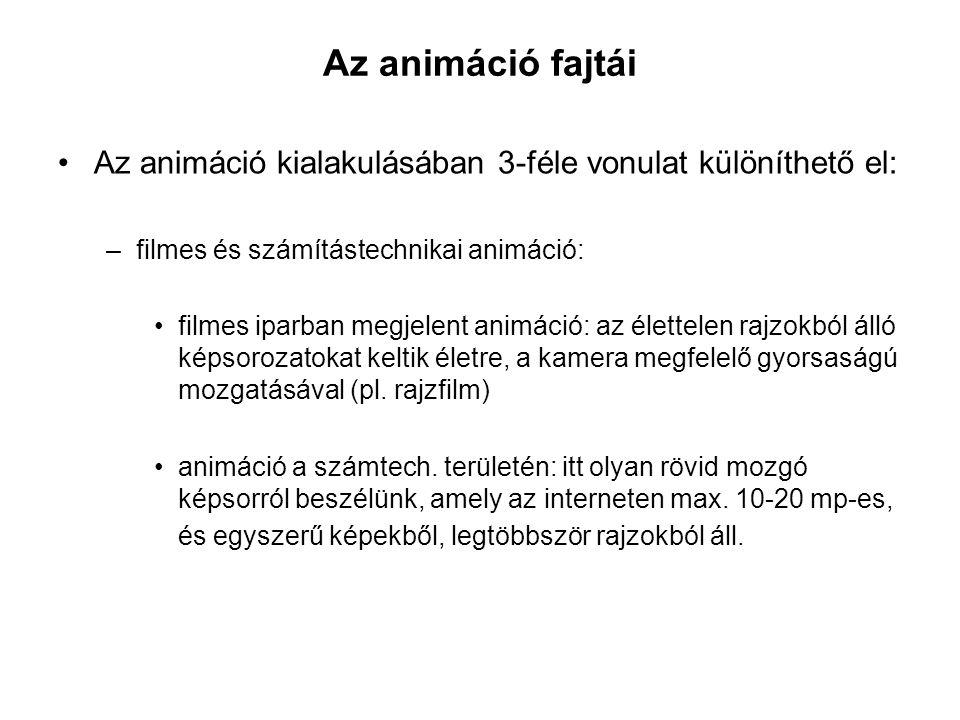 Az animáció fajtái Az animáció kialakulásában 3-féle vonulat különíthető el: filmes és számítástechnikai animáció: