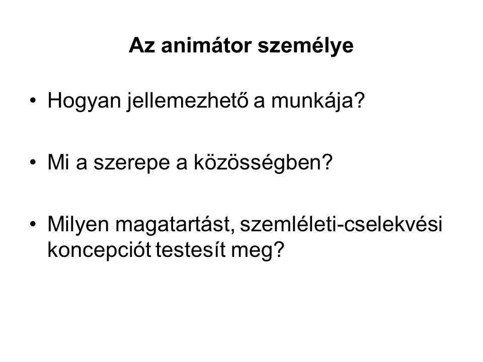 Az animátor személye Hogyan jellemezhető a munkája.
