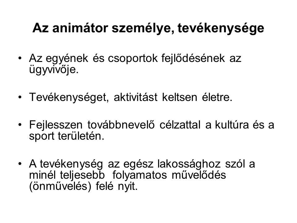 Az animátor személye, tevékenysége