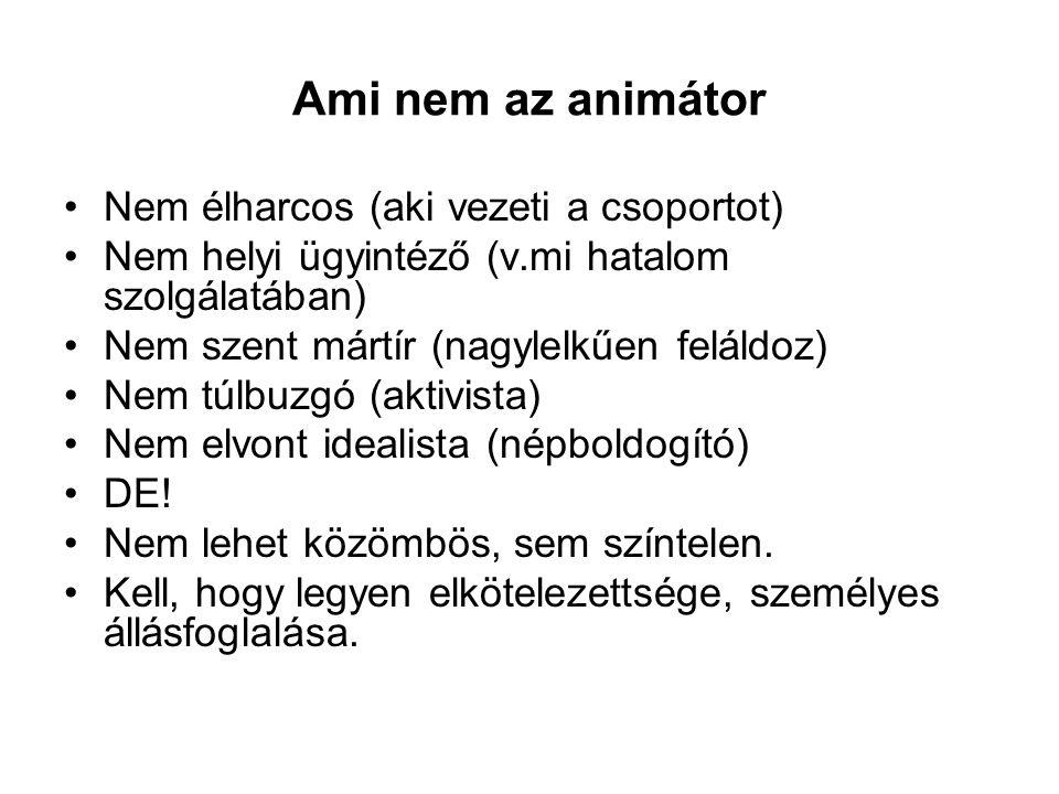 Ami nem az animátor Nem élharcos (aki vezeti a csoportot)
