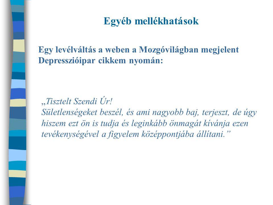 Egyéb mellékhatások Egy levélváltás a weben a Mozgóvilágban megjelent Depresszióipar cikkem nyomán: