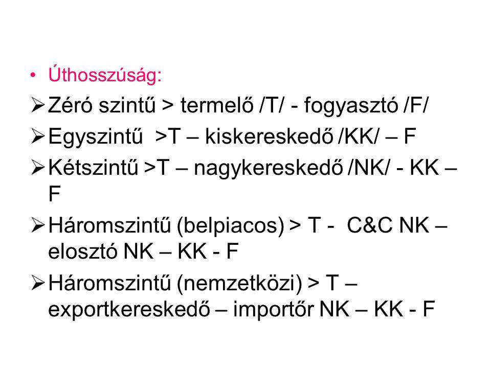 Zéró szintű > termelő /T/ - fogyasztó /F/