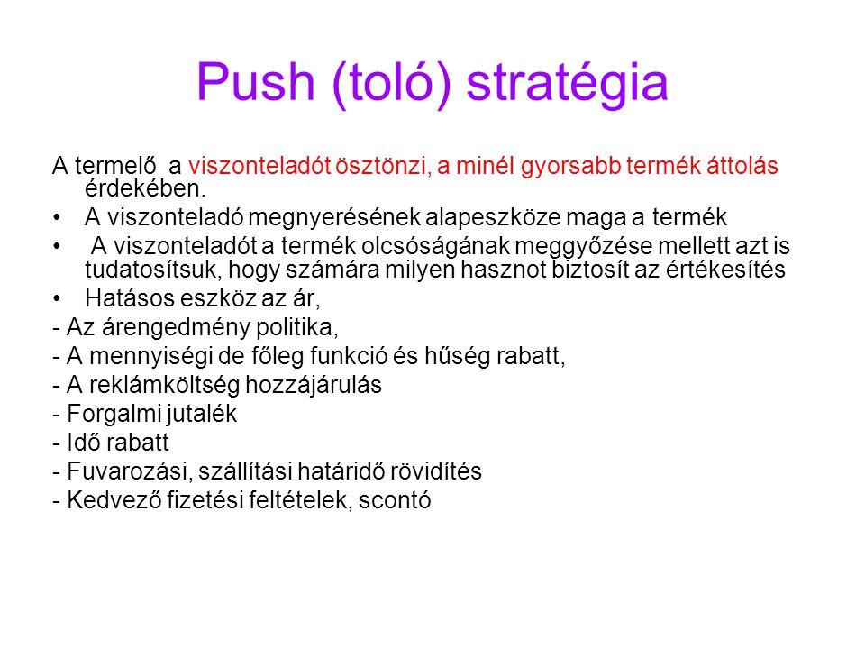 Push (toló) stratégia A termelő a viszonteladót ösztönzi, a minél gyorsabb termék áttolás érdekében.