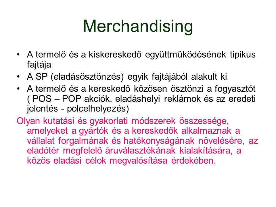 Merchandising A termelő és a kiskereskedő együttműködésének tipikus fajtája. A SP (eladásösztönzés) egyik fajtájából alakult ki.