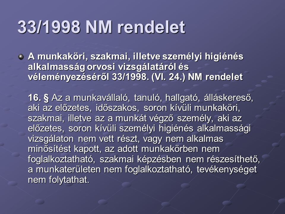 33/1998 NM rendelet