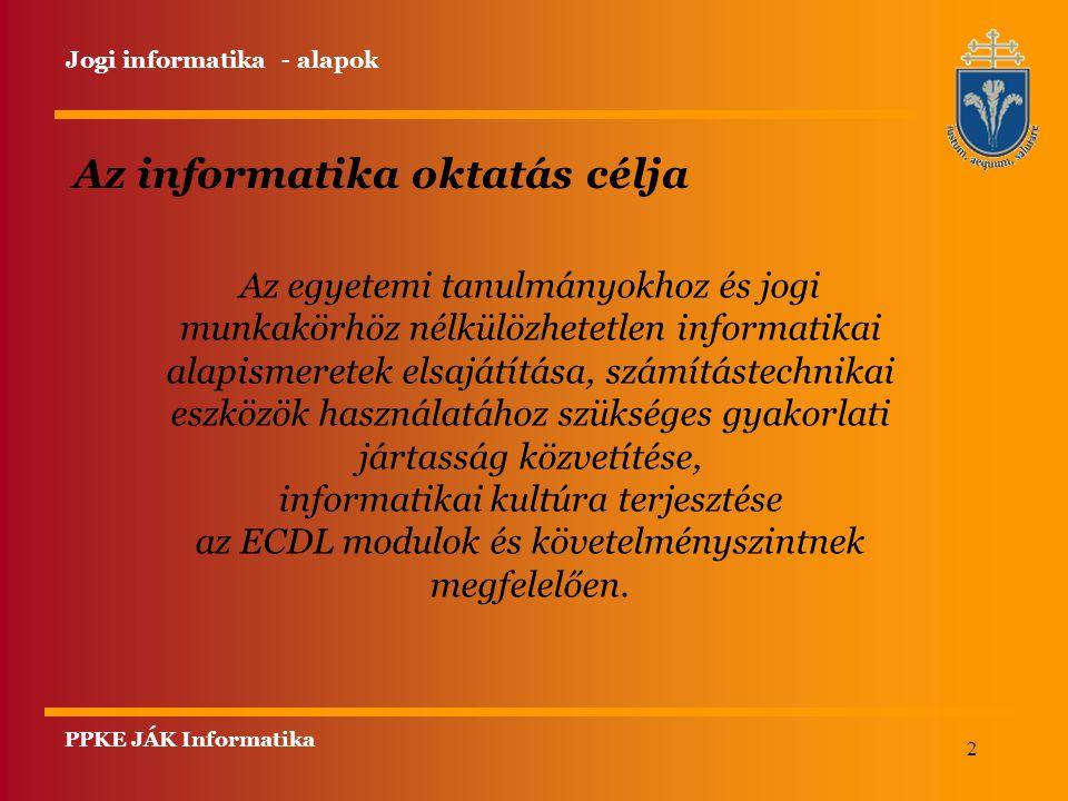 Az informatika oktatás célja