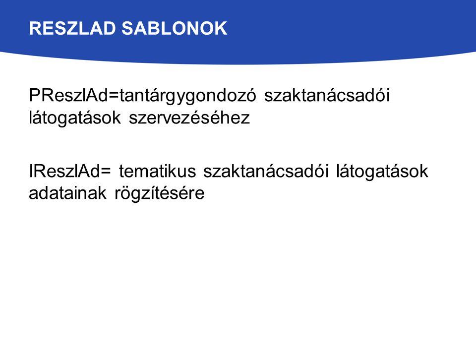 RESZLAD SABLONOK