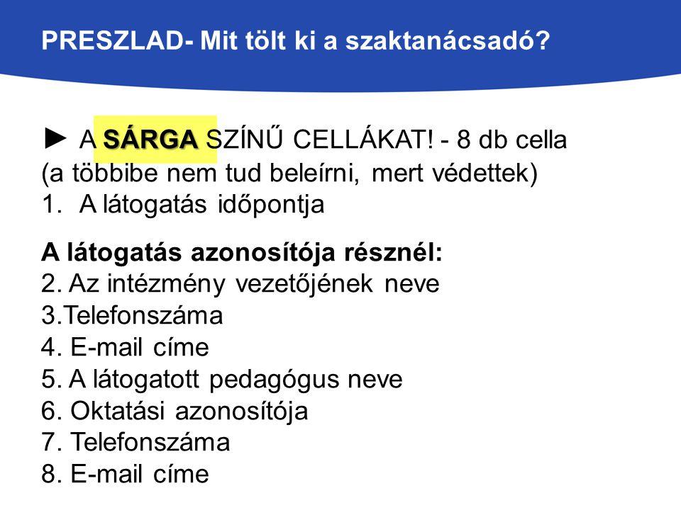 PRESZLAD- Mit tölt ki a szaktanácsadó