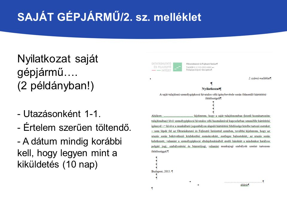 SAJÁT GÉPJÁRMŰ/2. sz. melléklet