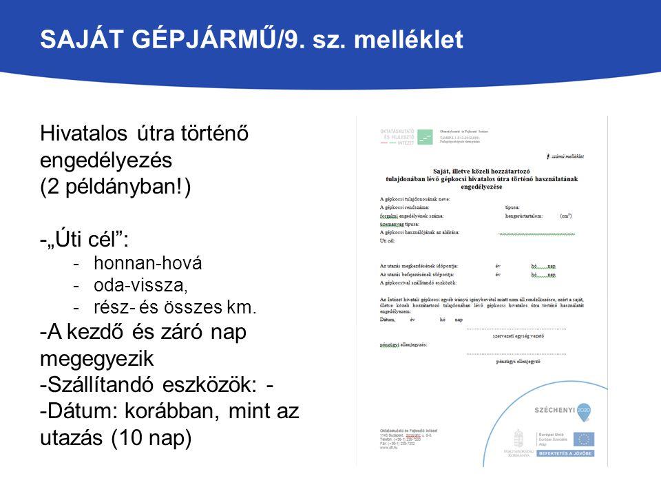 SAJÁT GÉPJÁRMŰ/9. sz. melléklet