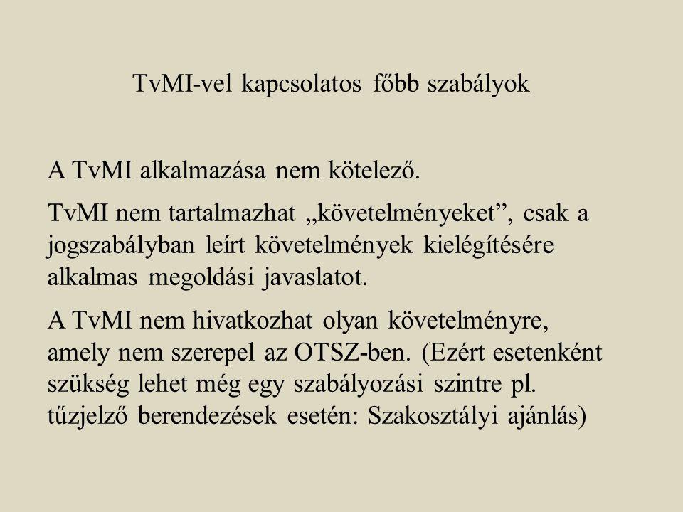 TvMI-vel kapcsolatos főbb szabályok