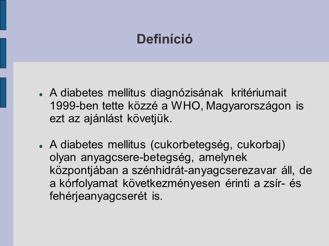 Definíció A diabetes mellitus diagnózisának kritériumait 1999-ben tette közzé a WHO, Magyarországon is ezt az ajánlást követjük.
