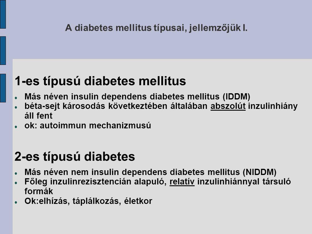A diabetes mellitus típusai, jellemzőjük I.
