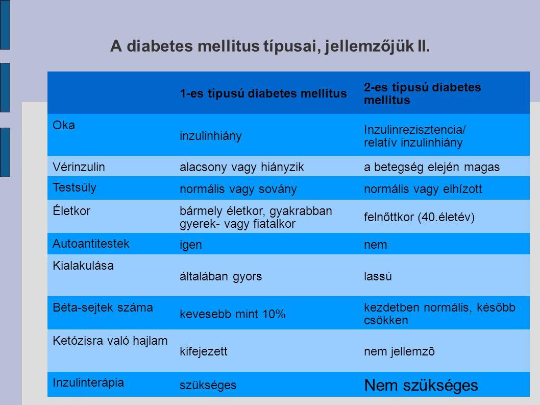 A diabetes mellitus típusai, jellemzőjük II.