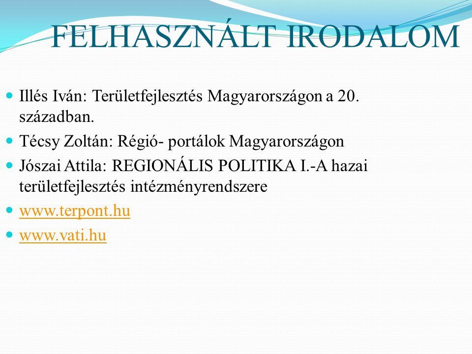 FELHASZNÁLT IRODALOM Illés Iván: Területfejlesztés Magyarországon a 20. században. Técsy Zoltán: Régió- portálok Magyarországon.
