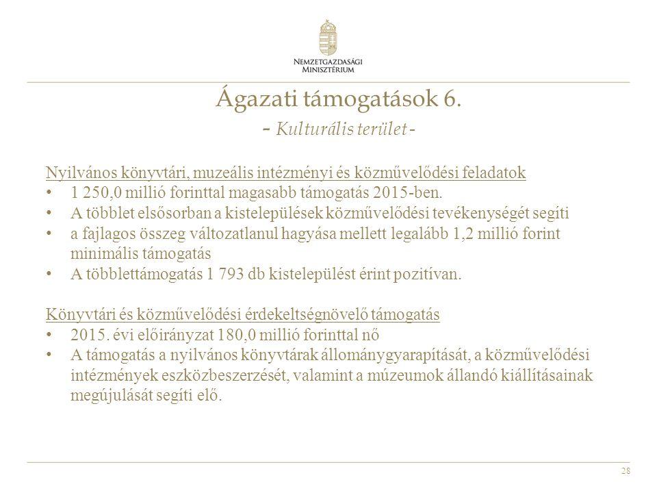 Ágazati támogatások 6. - Kulturális terület -