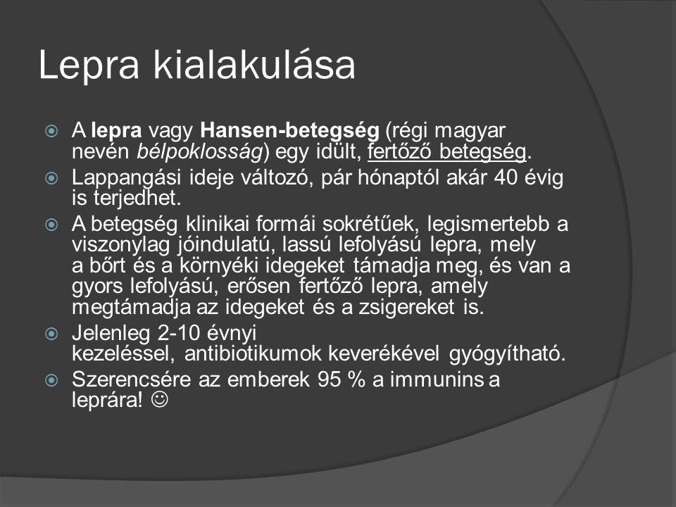 Lepra kialakulása A lepra vagy Hansen-betegség (régi magyar nevén bélpoklosság) egy idült, fertőző betegség.