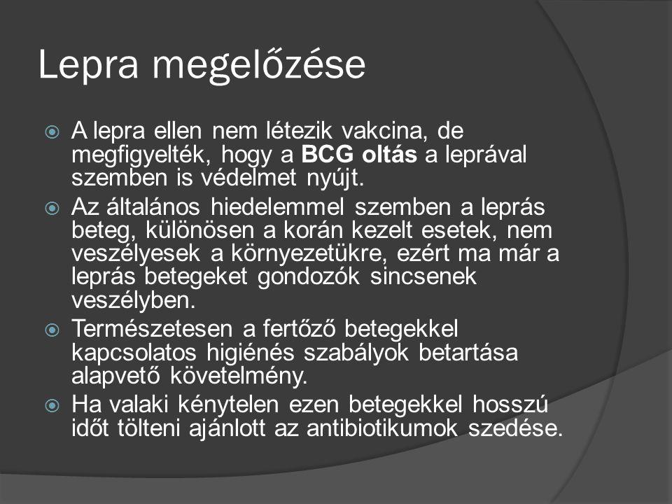 Lepra megelőzése A lepra ellen nem létezik vakcina, de megfigyelték, hogy a BCG oltás a leprával szemben is védelmet nyújt.