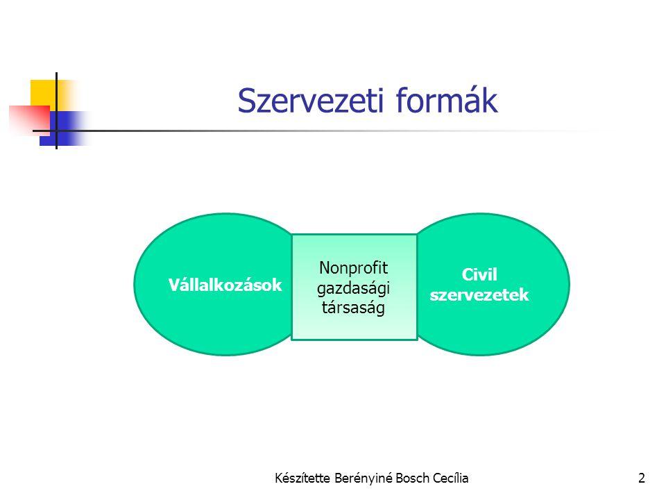 Szervezeti formák Civil szervezetek Vállalkozások
