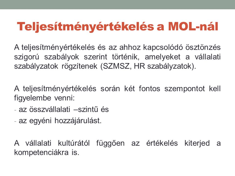Teljesítményértékelés a MOL-nál