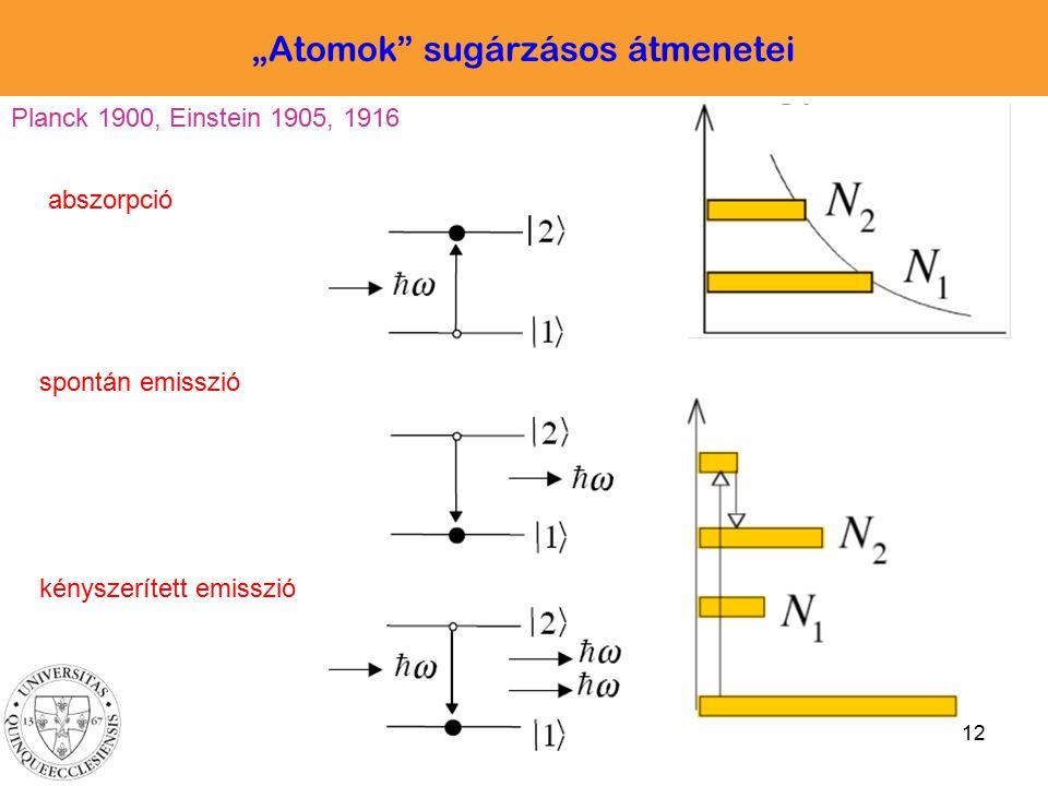 """""""Atomok sugárzásos átmenetei"""