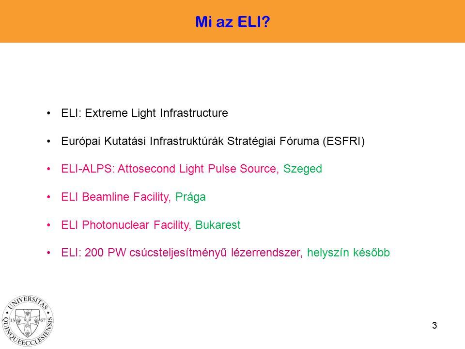 Mi az ELI ELI: Extreme Light Infrastructure