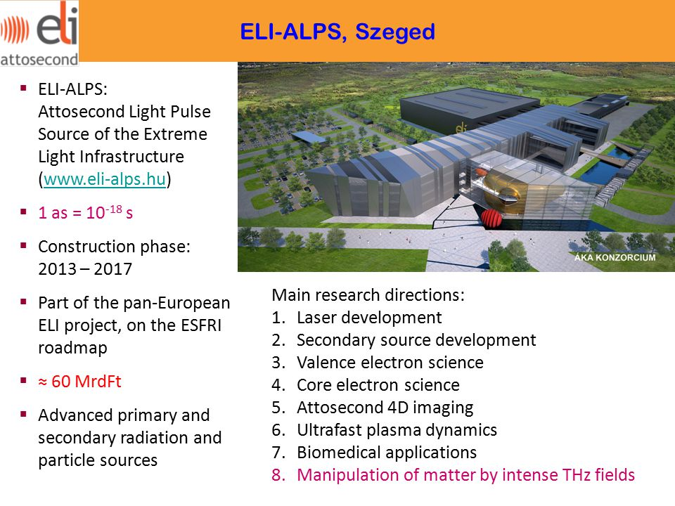 ELI-ALPS, Szeged ELI-ALPS: Attosecond Light Pulse Source of the Extreme Light Infrastructure (www.eli-alps.hu)