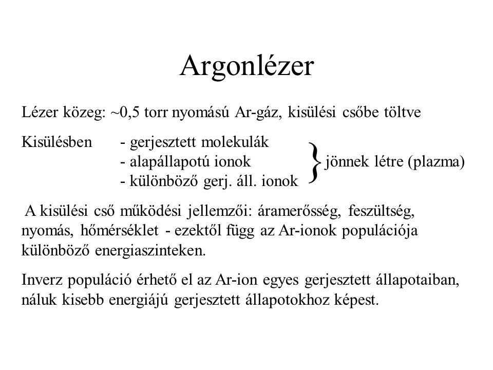 Argonlézer Lézer közeg: ~0,5 torr nyomású Ar-gáz, kisülési csőbe töltve.