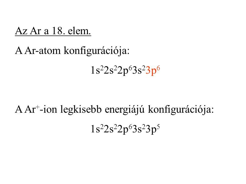 Az Ar a 18. elem. A Ar-atom konfigurációja: 1s22s22p63s23p6. A Ar+-ion legkisebb energiájú konfigurációja: