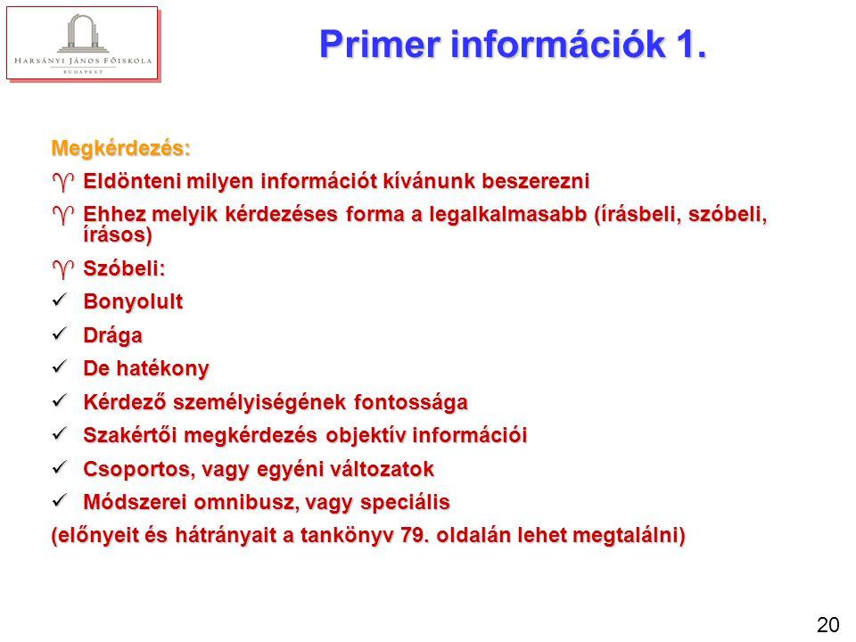 Primer információk 2. Kérdőíves módszer: