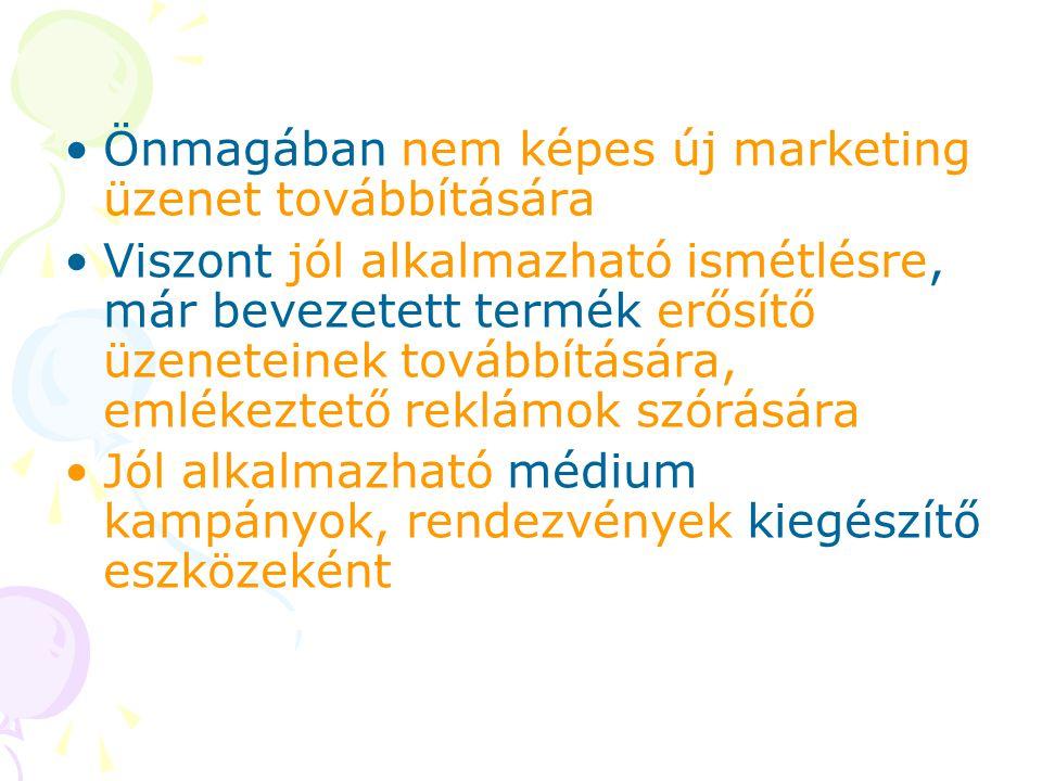 Önmagában nem képes új marketing üzenet továbbítására