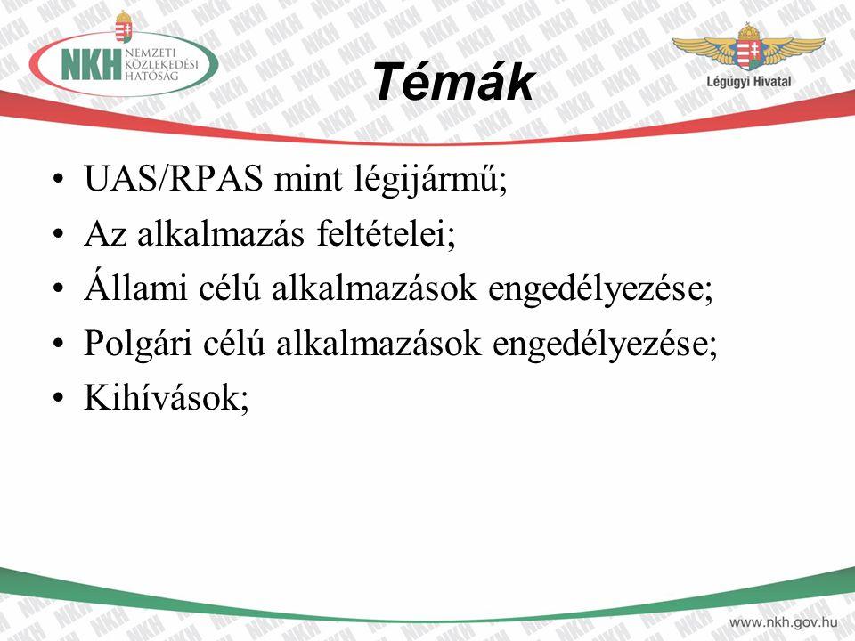 Témák UAS/RPAS mint légijármű; Az alkalmazás feltételei;