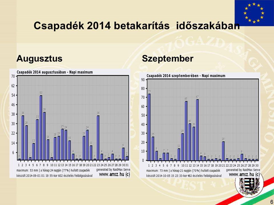 Csapadék 2014 betakarítás időszakában