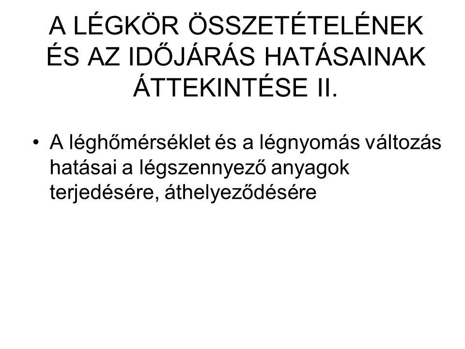 A LÉGKÖR ÖSSZETÉTELÉNEK ÉS AZ IDŐJÁRÁS HATÁSAINAK ÁTTEKINTÉSE II.