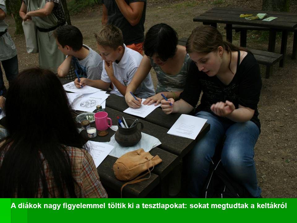 A diákok nagy figyelemmel töltik ki a tesztlapokat: sokat megtudtak a keltákról