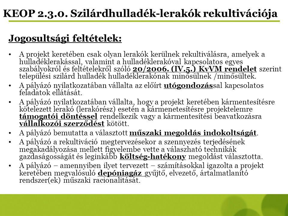KEOP 2.3.0. Szilárdhulladék-lerakók rekultivációja