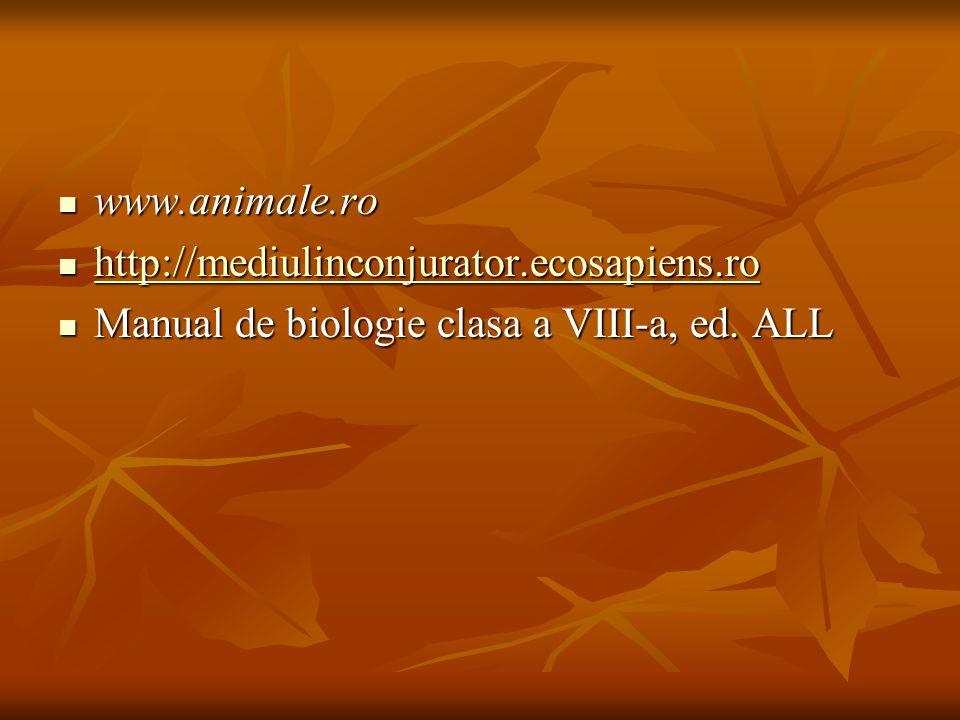 www.animale.ro http://mediulinconjurator.ecosapiens.ro Manual de biologie clasa a VIII-a, ed. ALL