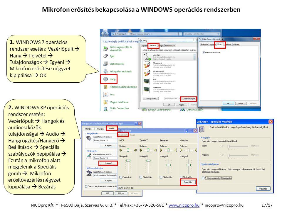 Mikrofon erősítés bekapcsolása a WINDOWS operációs rendszerben