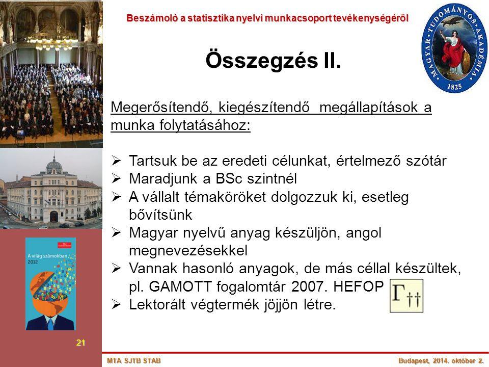 Beszámoló a statisztika nyelvi munkacsoport tevékenységéről