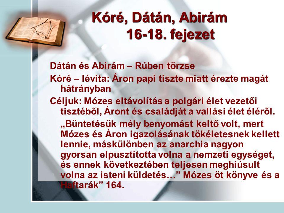 Kóré, Dátán, Abirám 16-18. fejezet