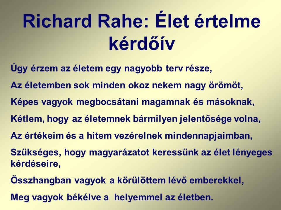 Richard Rahe: Élet értelme kérdőív