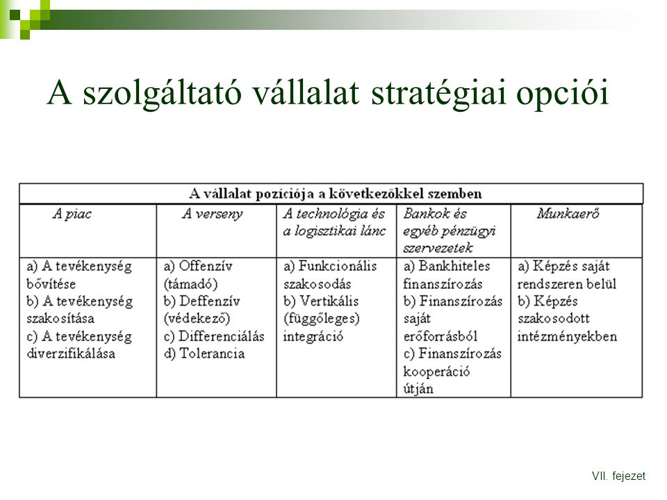A szolgáltató vállalat stratégiai opciói