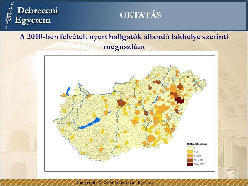 OKTATÁS A 2010-ben felvételt nyert hallgatók állandó lakhelye szerinti megoszlása