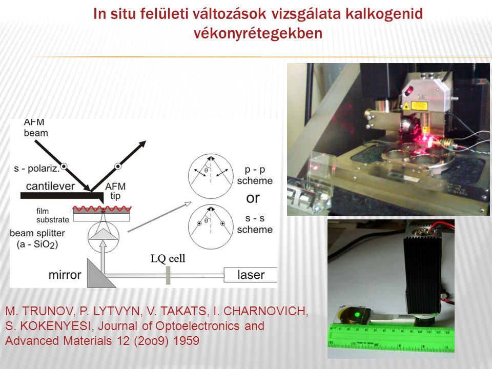 In situ felületi változások vizsgálata kalkogenid vékonyrétegekben