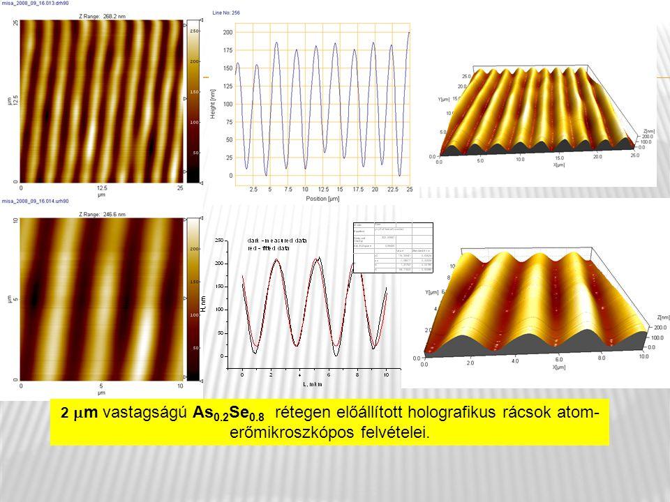2 m vastagságú As0.2Se0.8 rétegen előállított holografikus rácsok atom-erőmikroszkópos felvételei.